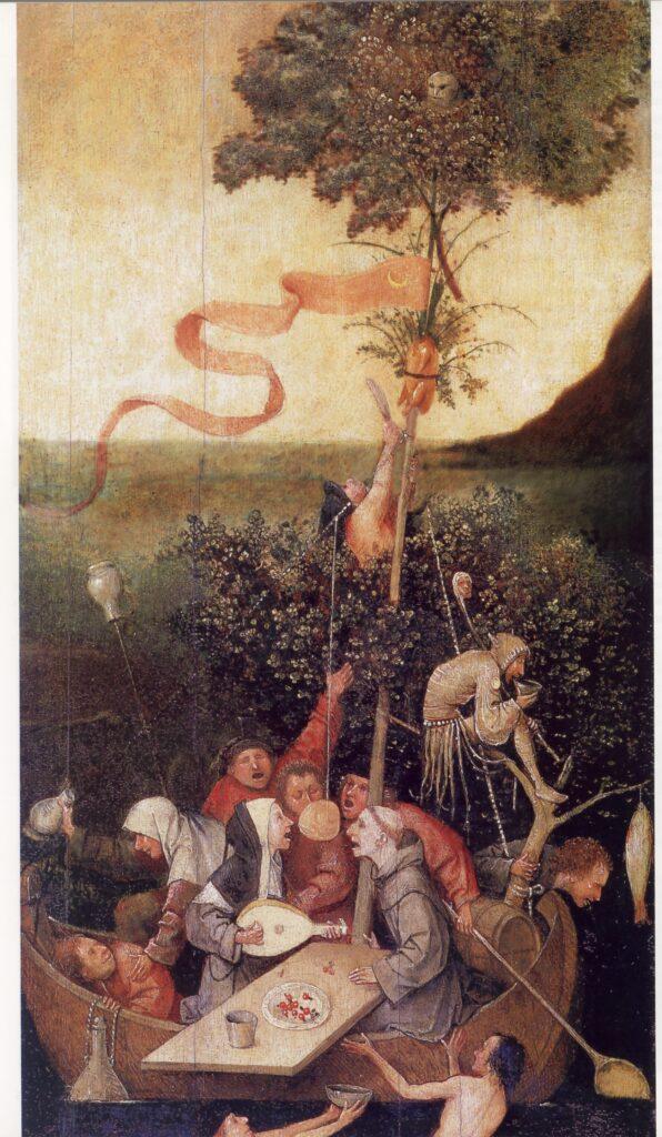 Hieronymus Bosch, La Nave dei folli, 1494, olio su tavola, 57,9x32,6 cm, Parigi, Museo del Louvre