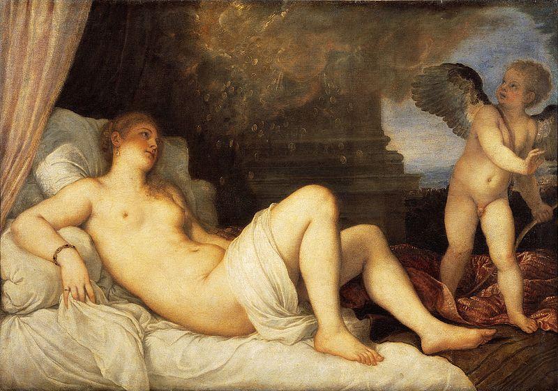 Tiziano Vecellio, Danae, 1545 ca, Olio su tela, 120 cm × 172 cm.,Napoli, Museo di Capodimonte. Qui Tiziano ritrasse la giovane amante di Paolo III
