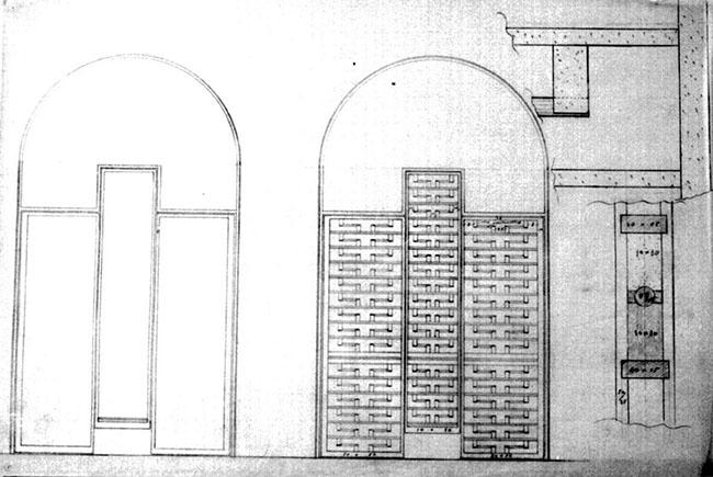 Carlo Scarpa: Cancelli prospetto della struttura, prospetto con parte della ferramenta decorativa e particolare di essa; esecutivo matita su velina, 45x62,3 cm
