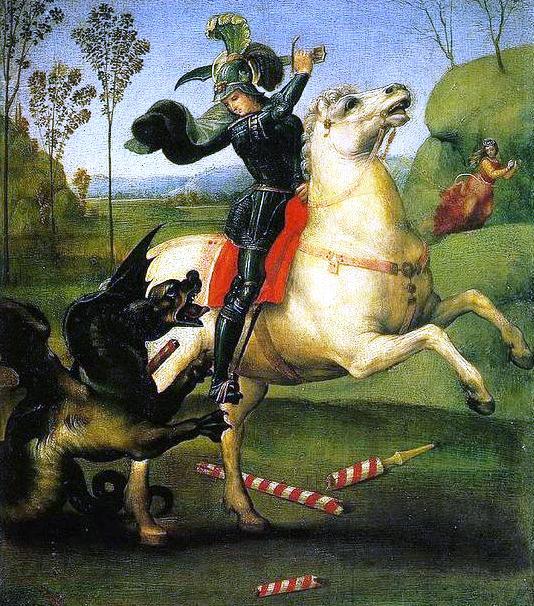 Raffaello, San Giorgio e il drago, 1505 circa. Olio su tavola, Parigi, Louvre