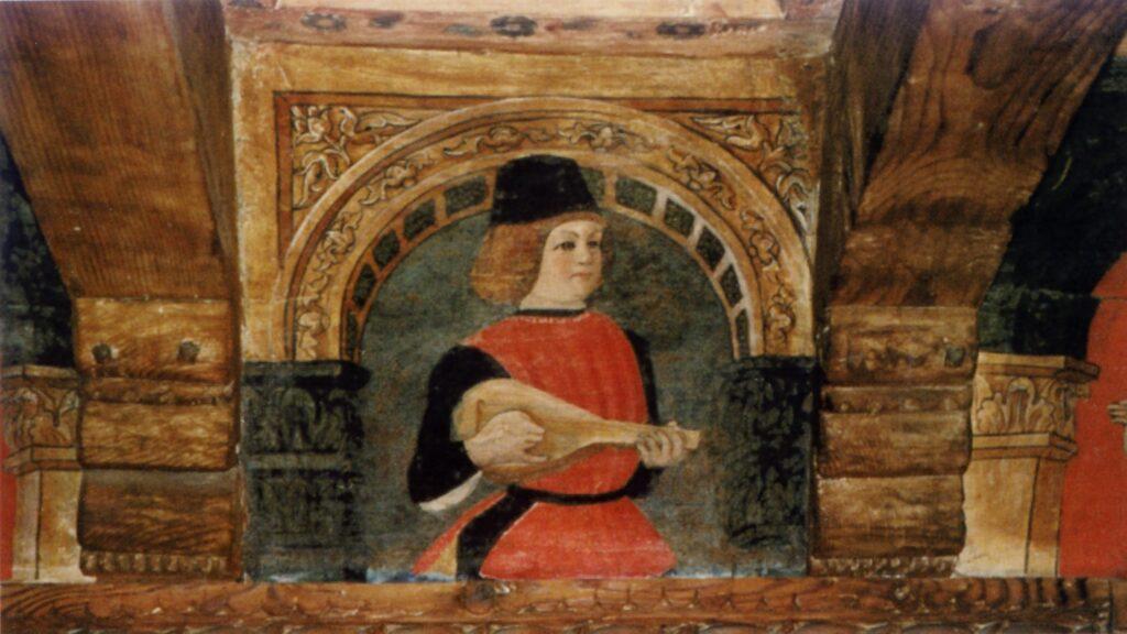 Una tavoletta dell'ottavo-nono decennio del XV secolo che effigia un giovane suonatore. L'arco rivela un confronto con la grande pittura dell'epoca
