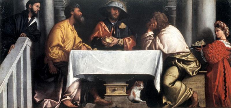 Alessandro Bonvicino detto il Moretto, Cena in Emmaus, 1526 circa, olio su tela, 147 cm × 305 cm, Brescia, Pinacoteca Tosio Martinengo