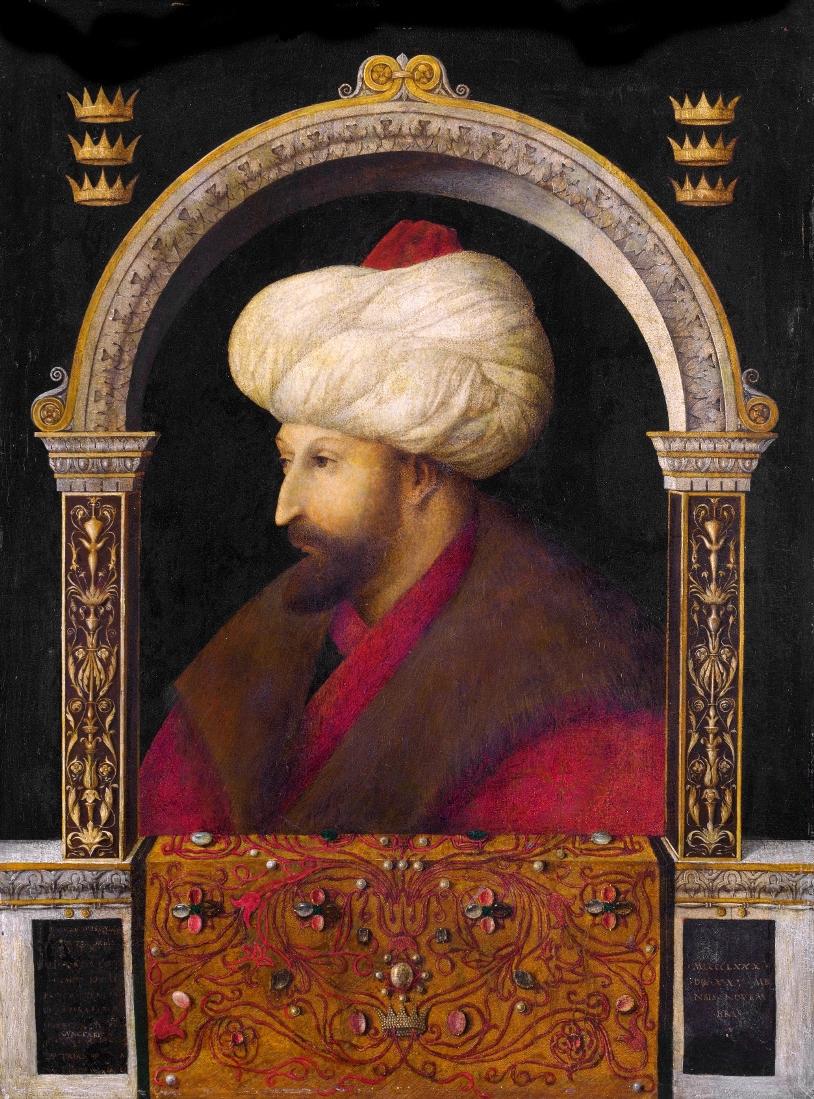 Gentile Bellini, Ritratto di Maometto II, 1480, olio su tela,69.9 cm × 52.1 cm, Londra, Victoria and Albert Museum