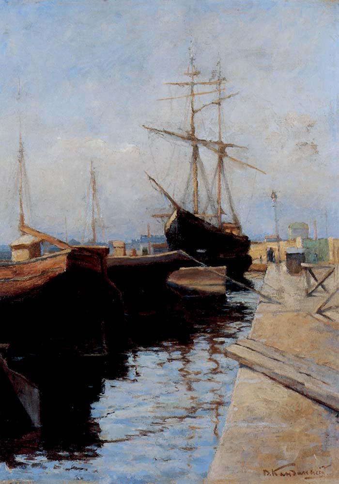Vasilij Kandinskij, Odessa-Porto I, 1898. In questa tela appaiono ancora lontane le intuizioni che porteranno l'artista a diventare il padre dell'Astrattismo. Chiara è l'influenza derivante dalla tradizione del realismo russo