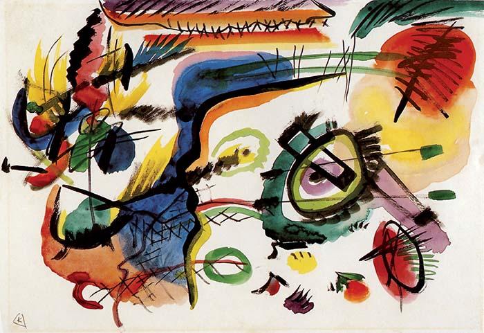 Schizzo per Composizione VII, 1913. Dal 1911 le figure, il colore, lo spazio sono così confusi che è impossibile distinguere il soggetto. La svolta avviene in seguito al contatto con il gruppo teosofico