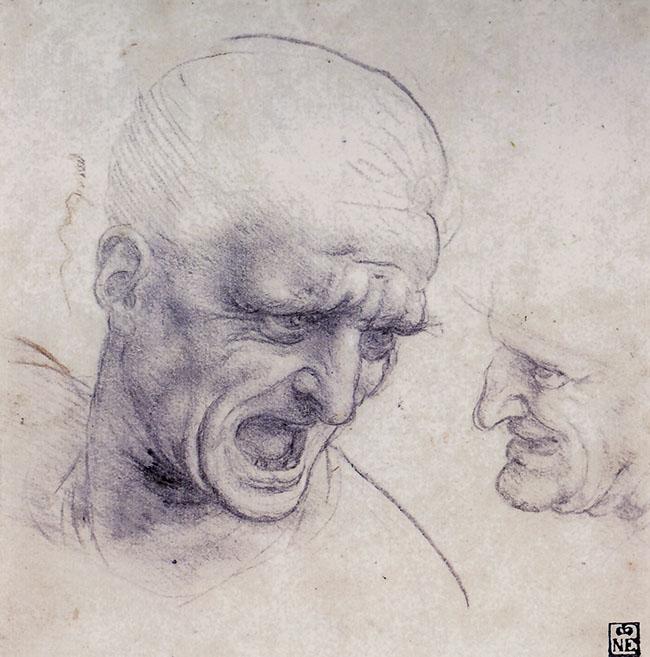 Leonardo, Testa di uomo urlante