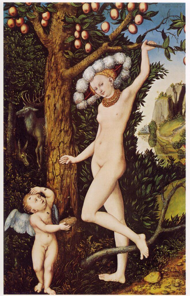Lucas Cranach il Vecchio-Venere e Amore con favo di miele. Il miele dell'amore può nascondere numerose insidie, come l'alveare. L'estrema dolcezza può trasformarsi in estremo dolore. La diffusione dell'allegoria e l'esplicita rappresentazione in Cranach il Vecchio conferma il significato della presenza del favo nella tavola di Bronzino