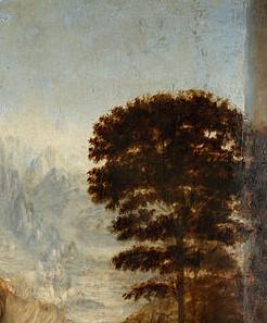 Prospettiva aerea nel paesaggio del dipinto Sant'Anna, la Vergine e il Bambino con l'agnellino, opera di Leonardo