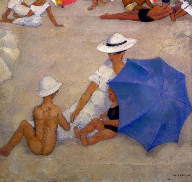 Moses Levy, Madre e bambini sulla spiaggia, 1920, olio su tela, cm 47x51, collezione privata
