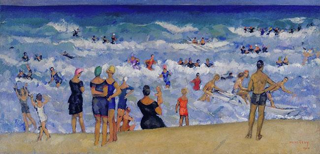Moses Levy, Mareggiata, 1920, olio su tela, cm 60x120, collezione privata