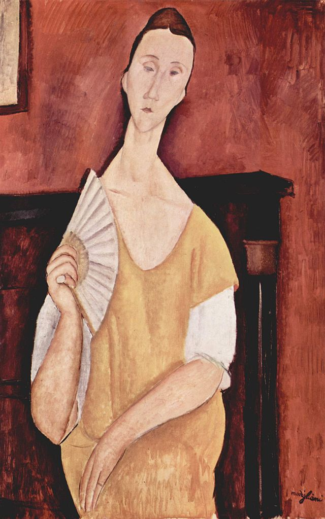 Amedeo Modigliani, Ritratto di Lunia Czechowska con ventaglio, 1919, Olio su tela, 100×65 cm