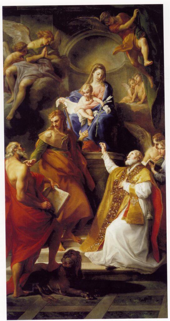 Pompeo Batoni, Vergine con il Bambino e i santi Girolamo, Giacomo maggiore e Filippo Neri. Chiari, parrocchiale dei santi Faustino e Giovita