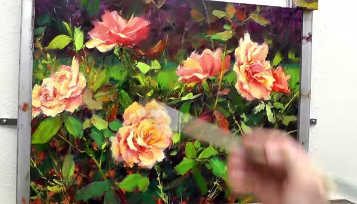 come dipingere splendide rose in un giardino il video