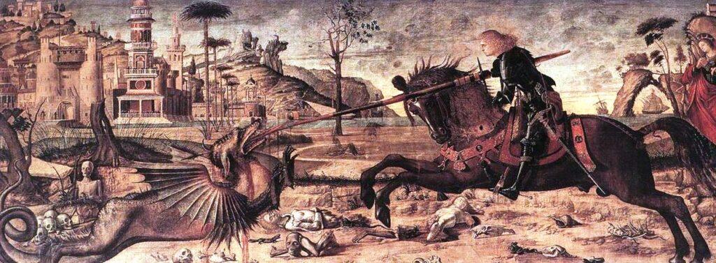 Vittore Carpaccio, San Giorgio e il drago, 1502 tempera su tavola, 141x360 cm, Venezia, Scuola di San Giorgio degli Schiavoni