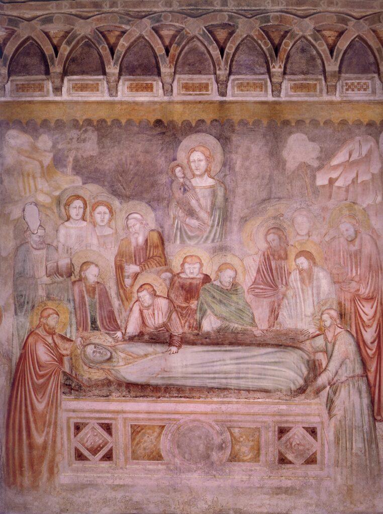 Stefano fiorentino,-Deposizione-della-Vergine, particolare-della-scena-centrale-come-dormitio-virginis