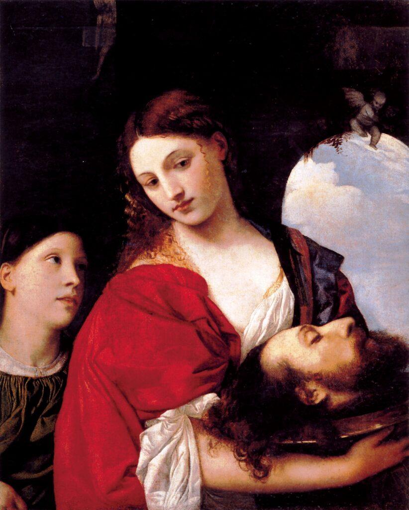 Tiziano Vecellio, Salomè con la testa del Battista, 1515 circa, Olio su tela, 90×72cm, Roma, Galleria Doria Pamphili. La viola bianca è alla sinistra della giovane donna, infilata nella veste, a livello della scollatura