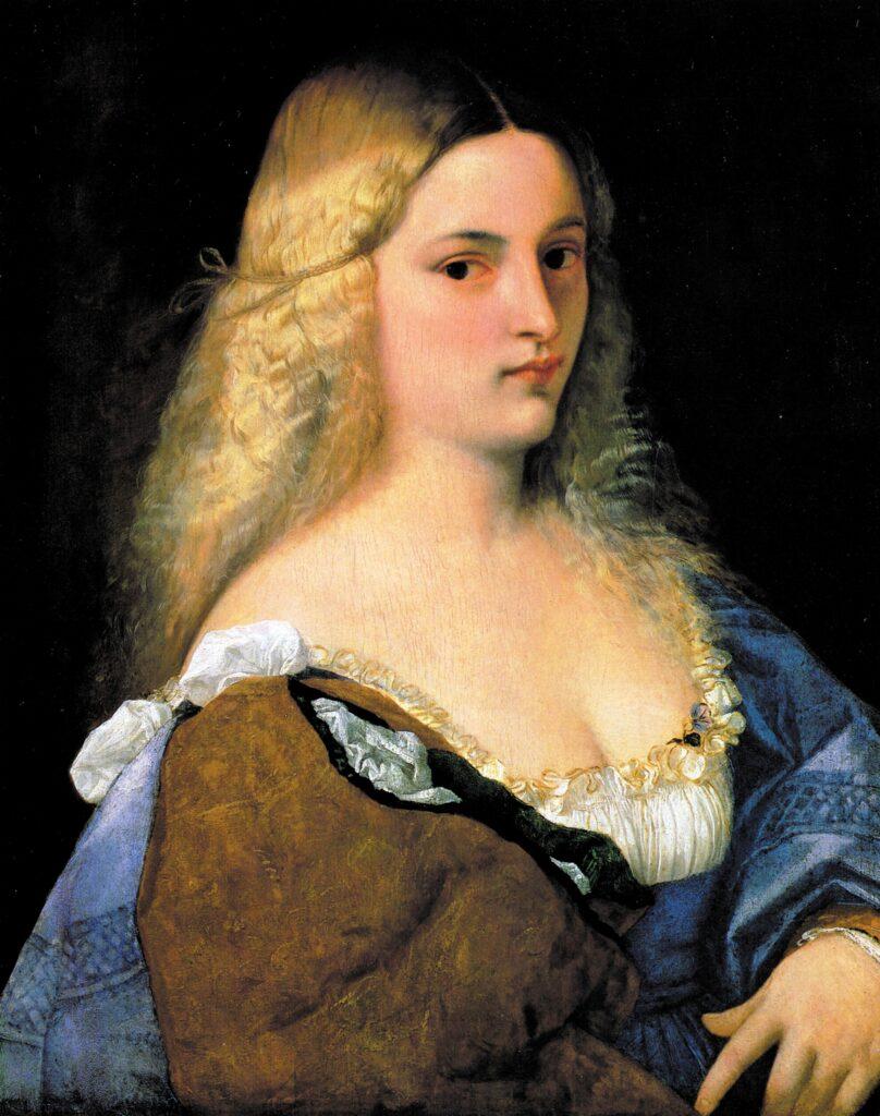 Tiziano Vecellio, Violante, 1515 circa, Olio su tavola, 64,5×51cm, Vienna, Kunsthistorisches Museum. La viola è alla sinistra della giovane donna, infilata nella veste, a livello della scollatura