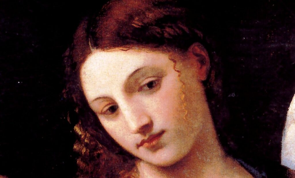 Tiziano Vecellio, Salomè con la testa del Battista, (particolare del volto di Salomè) 1515 circa, Olio su tela, 90×72cm, Roma, Galleria Doria Pamphili
