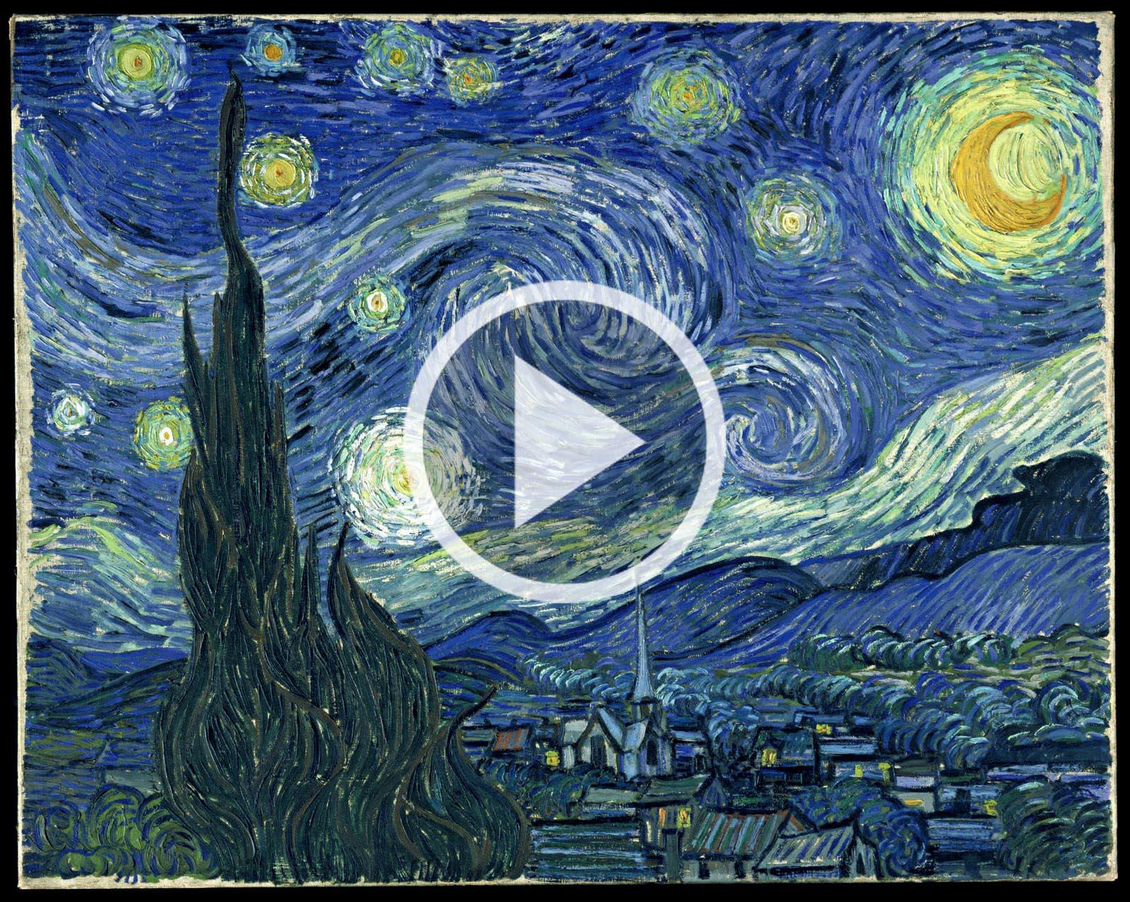 Video in movimento la notte stellata di van gogh e i for La citta con il museo van gogh