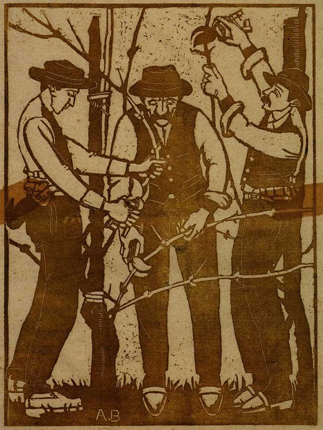 Adolfo Balduini La potatura, 1915 xilografia stampata con inchiostro verde su carta avorio Barga (Lucca), collezione privata