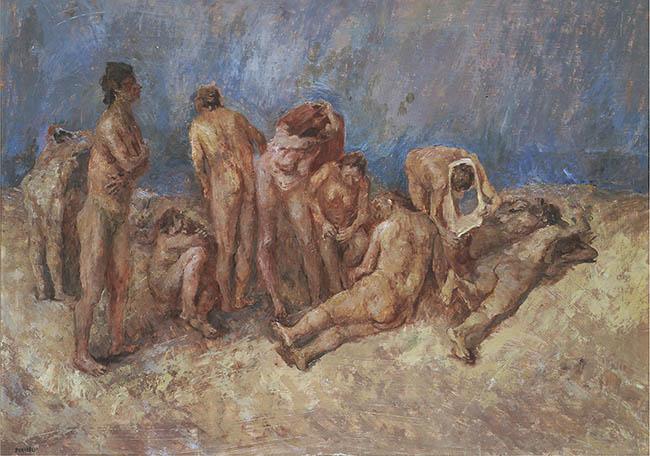 Fausto Pirandello La spiaggia  Olio su tavola, 74 x 106 cm 1940 Collezione Giuseppe Iannaccone, Milano