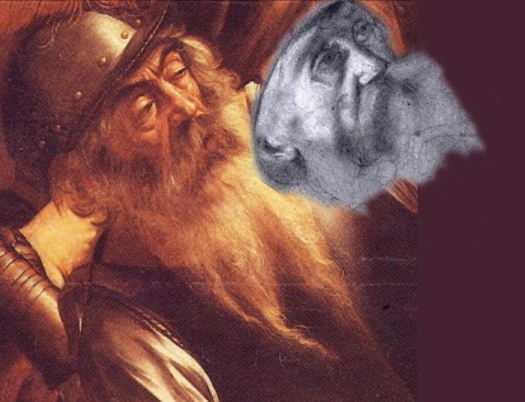 Il ritaglio del disegno precedentemente illustrato e l'accostamento del volto a quello del soldato della Caduta di Saulo di Michelangelo Merisi