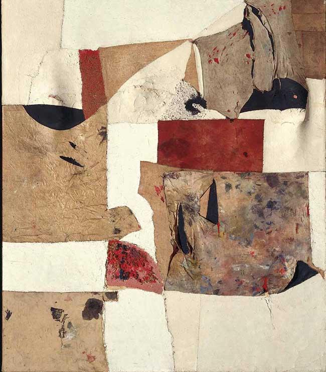 Alberto Burri: Gobbo Bianco, 1953; cm. 100,7x87; Stoffa, olio, segatura, pietra pomice su tela estraflessa (Fondazione Palazzo Albizzini Collezione Burri)