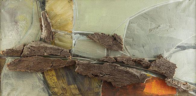 Maria Lai: Composizione polimaterica, 1964, olio e sughero su tela, 50x100x10cm, foto: pierluigi dessì/confini visivi
