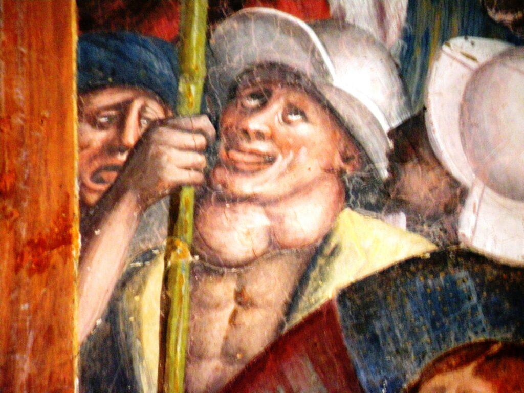 Un particolare degli affreschi di Fermo Stella in San Bernardino. Non può sfuggire l'attenzione di Fermo Stella nei confronti dell'espressività estrema in pittura. Un tratto che, trasformato in rilevamento drammatico, avrebbe caratterizzato il percorso di Merisi