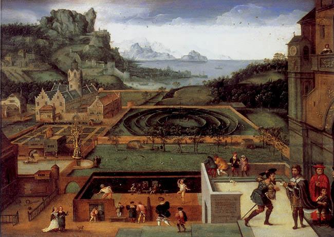 Joos van Amstel (attribuito), Paesaggio con David e Betsabea