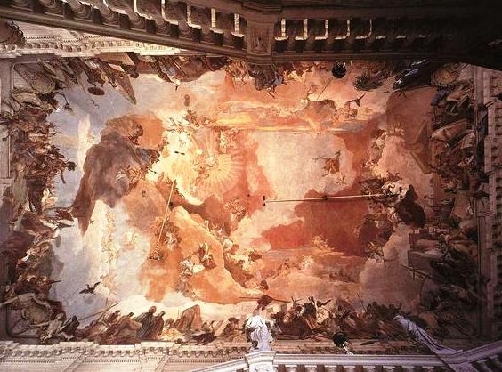 Un cielo-tripudio, in uno degli affreschi realizzati da Tiepolo a Wurzburg