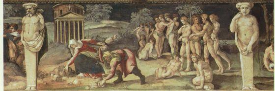 Baldassarre Peruzzi e bottega,Deucalione e Pirra,1517-1518, affresco,Roma, Villa Farnesina, Salone delle Prospettive, fregio