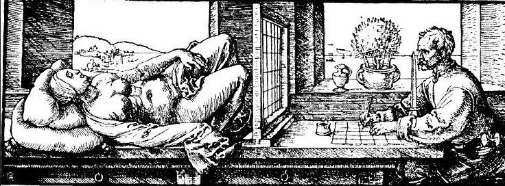 L'incisione di Durer. Il pittore, alla nostra destra ha davanti a sè un prisma di cristallo che raccoglie i fasci di luce provenienti dalla donna sdraiata sul tavolo e li proietta sul foglio quadrettato. Il pittore, con la matita, segue i contorni dell'immagine della donna proiettati sul foglio. Per questo sembra scrivere senza guardare il lapis. In realtà il prisma ottico gli permette di vedere sovrapposti la sua mano e la figura della donna
