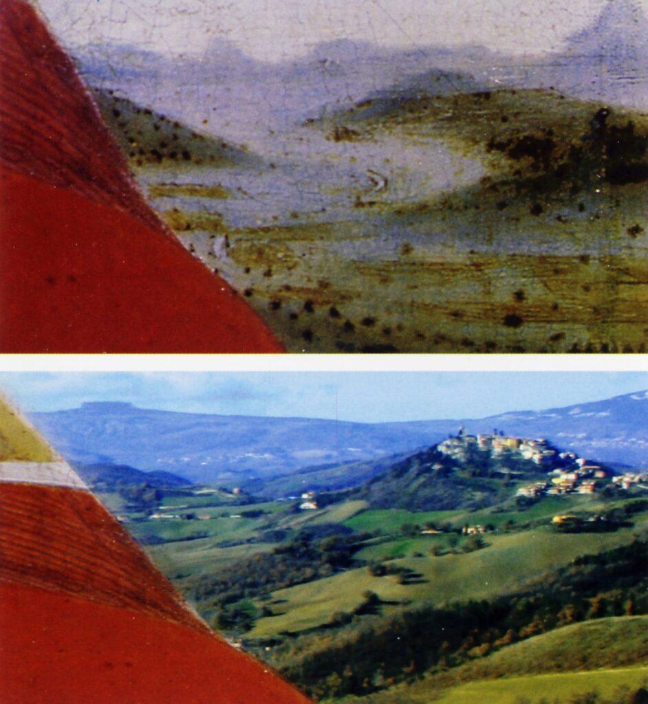Federico da Montefeltro, particolare messo a confronto con l'immagine fotografica della rocca del Peglio
