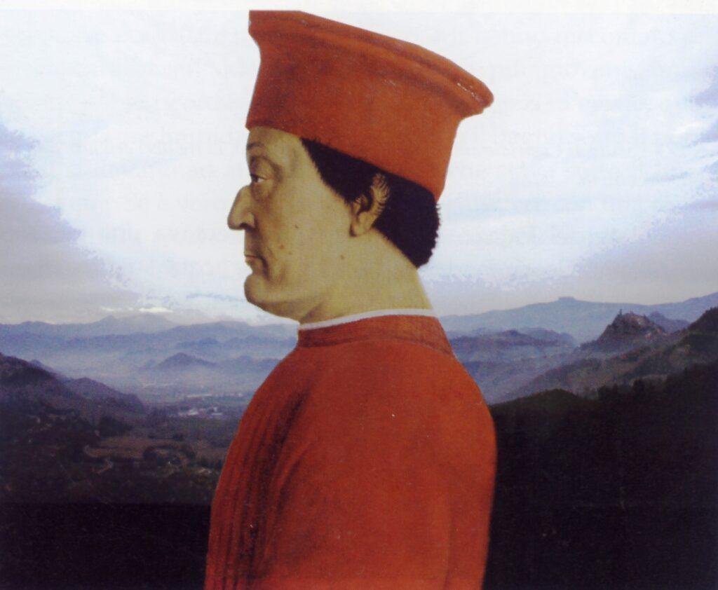 Sovrapposizione del ritratto del duca con la fotografia panoramica della vallata del Metauro