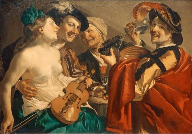 Dirck van Baburen (1595 circa -1624), Concerto per il Figliol prodigo