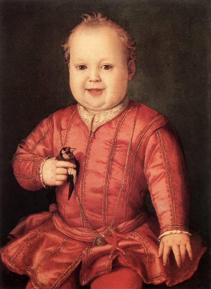 Giovannino de'Medici, ritratto da Bronzino, reca un reca un ramo di corallo rosso, alla cintola, all'altezza del suo fianco sinistro