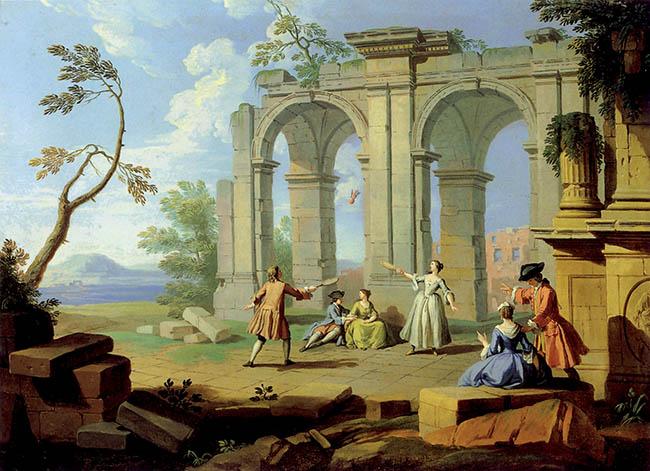Giuseppe Zocchi, Il volano,  olio su tela, 54x60,5 cm, 1751