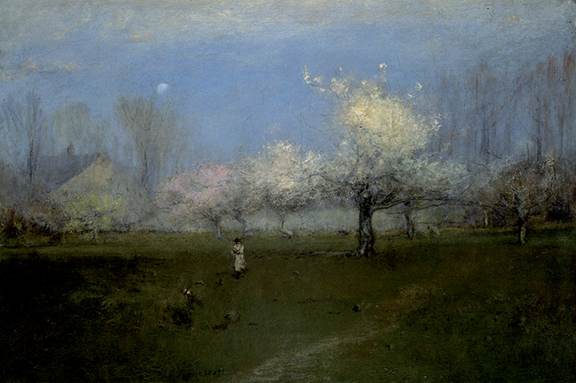 George Inness, Alberi in fiore,  Montclair, New Jersey
