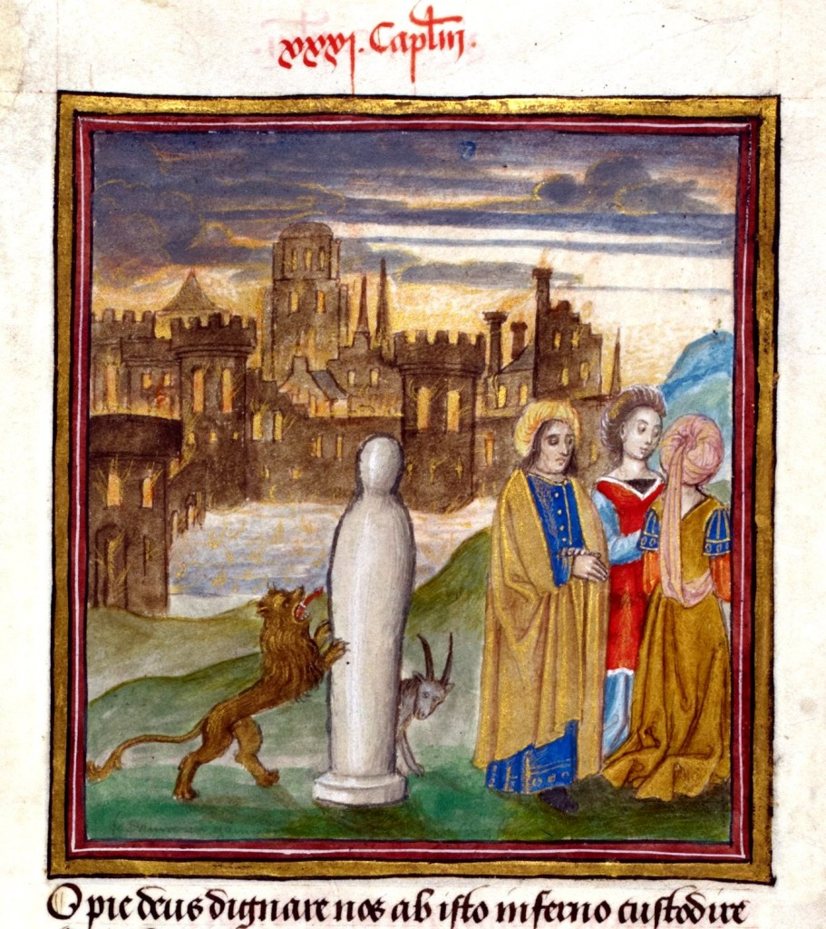 """""""Lot e le sue figlie fuggono da Sodoma, mentre la moglie si trasforma in una statua di sale"""", miniatura tratta dal codice 'Speculum humanae salvationis' (1485-1509)"""