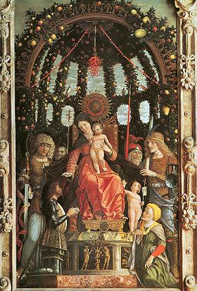 Andrea Mantegna, Madonna della Vittoria,1496, tempera su tela, 280x166 cm, Parigi,Museo del Louvre