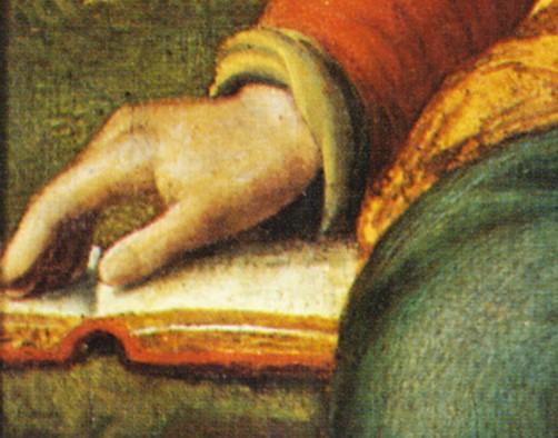 Bernardino Luini o scuola, Madonna con Bambino o Madonna del grappolo d'uva, (particolare), secolo XVI, tavola, 82x64,5 cm