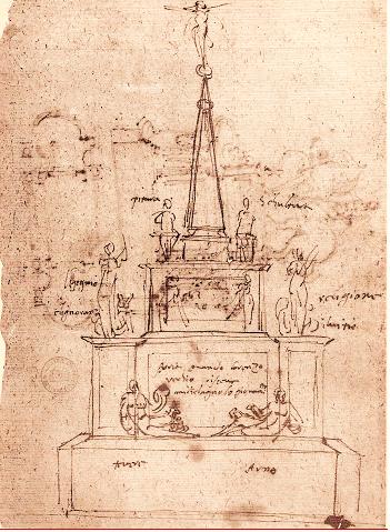 Lastricati, Disegno preparatorio per il catafalco di Michelangelo in San Lorenzo, 1564