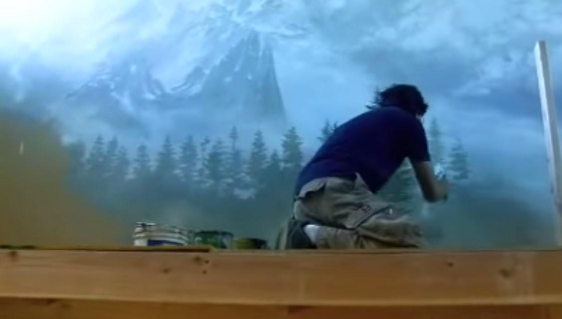 Dipingere paesaggio montano sulla parete di casa. video tutorial ...