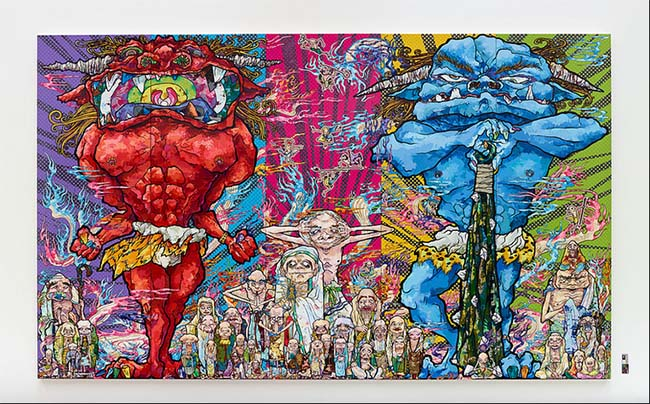 Takashi Murakami (Japanese, 1962-) Red Demon and Blue Demon with 48 Arhats, 2013 Acrylic, gold and platinum leaf on canvas mounted on board 3000 x 5000 mm Courtesy Blum & Poe, Los Angeles ©2013 Takashi Murakami/Kaikai Kiki Co., Ltd. All Rights Reserved.