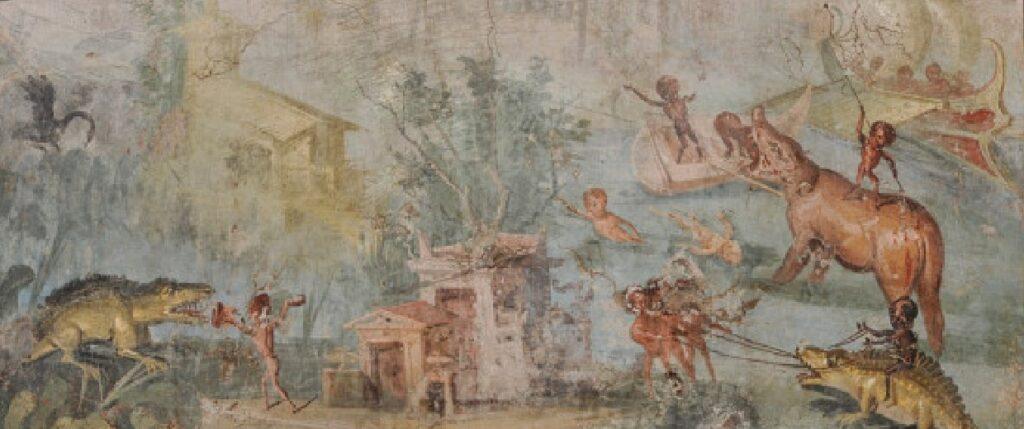Scena nilotica con pigmei cacciatori, 55-79 d.C., intonaco dipinto, 82-x-133-x-8-cm, Napoli, Museo-Archeologico-Nazionale. Le pitture nilotiche ellenistiche e romane sono caratterizzate da campi lunghi, panoramici, in cui il pittore registra il pullulare della vita