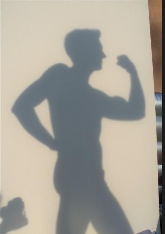 Il rilevamento della figura e del profilo, attraverso l'ombra. Abbia posto il modello a circa un metro dalla tela. L'esperimento è avvenuto nel tardo pomeriggio. L'ombra è molto delineata. Per ricavare il profilo o la figura, secondo gli insegnamenti dei greci, tramandati da Plinio il Vecchio, bastava seguire il bordo della silhouette