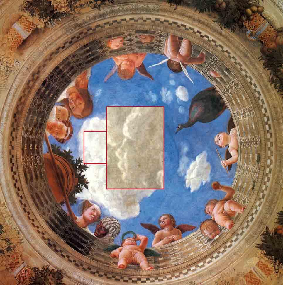 Le nubi statuarie di Mantegna, nella Camera degli sposi, a Mantova