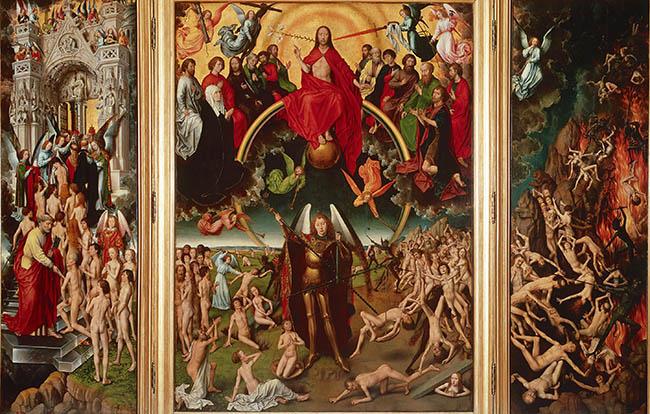 Hans Memling Trittico del Giudizio Universale 1467 - 1472 olio e tempera su tavola cm 221 x 161 (pannello centrale), cm 223,5 x 72,5 (scomparti laterali) Danzica, Muzeum Narodowe