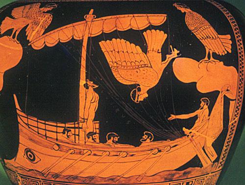 Decorazione di un vaso ateniese, tardo VII-primo V secolo a.C. British Museum, Londra